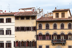 Front view of various medieval houses in Florence Royalty Free Stock Photo