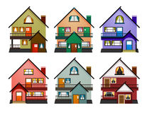 Front view of various modern houses Royalty Free Stock Photography