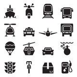 Front view of Vehicle & transportation icon set Royalty Free Stock Photos