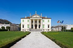 Front view of the Villa Cordellina Lombardi in Montecchio Maggiore, Veneto. Italy royalty free stock photography