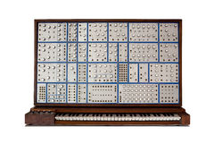 Front view of vintage analog modular synthesizer Royalty Free Stock Photo