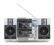 Front View of a Vintage Boom Box Cassette Tape Pla royalty free stock photography
