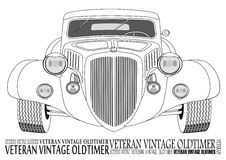 The Front view of vintage car. For colouring book Stock Image