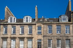 Front view of vintage facades in Edinburgh Stock Images