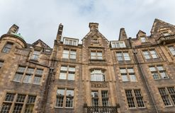 Front view of vintage facades in Edinburgh Royalty Free Stock Photos