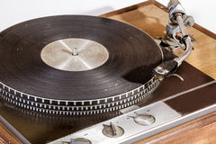 Front View of Vintage Grungy Record Playing Turn Table Stock Photos