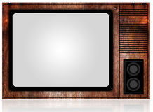 Front view of vintage TV with white-blank-screen. Blank close-up closeup electrical equipment front stock image