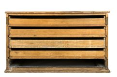 Front View of a VIntage Wooden Drawer with Missing Box stock photo