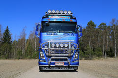 Front view of Volvo FH16 Timber Truck on Country Road Royalty Free Stock Photography