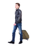 Front  view of walking  man  with suitcase. Stock Photography