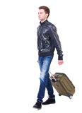Front  view of walking  man  with suitcase. Stock Image