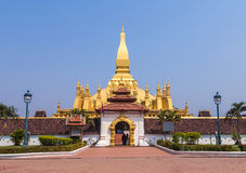 Front view of wat pha that luang pagoda landmark of vientiane,laos. Stock Photography