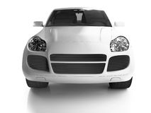 Front view of white crossover stock photo