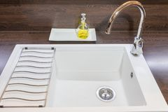 Front view of the white empty kitchen sink. Ready as a background. All potential trademarks are removed royalty free stock images