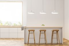 Modern white kitchen with bar and stools, front royalty free illustration