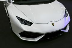 Front view of a White Luxury sportcar Lamborghini Huracan LP 610-4. Car exterior details Stock Photo