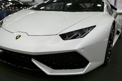 Front view of a White Luxury sportcar Lamborghini Huracan LP 610-4. Car exterior details. Royalty Free Stock Photography