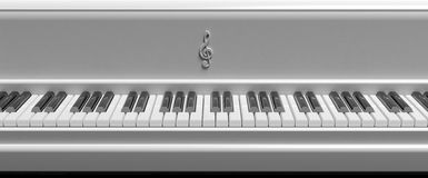 Front view of white piano keys Stock Photo