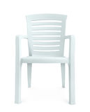 Front view of white plastic chair. Isolated on white Stock Image