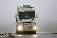 Front View of White Scania Truck in Fog Royalty Free Stock Photos