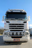 Front view of White Scania Truck Royalty Free Stock Image