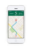 Front view of white smart phone with map gps navigation app on t Stock Photos