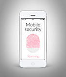 Front view of white smart phone with mobile security fingerprint Stock Photos