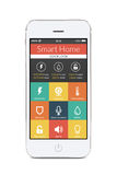 Front view of white smart phone with smart home application on t Royalty Free Stock Images