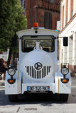 Front View of a White Trackless Train in France stock photo