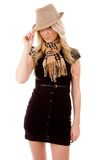 Front view of woman holding hat Royalty Free Stock Photo