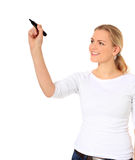 Front view of woman starting to draw Stock Photography