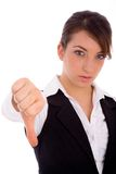 Front view of woman with thumbs down Royalty Free Stock Image
