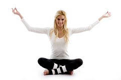 Front view of woman in yoga pose royalty free stock images