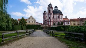 Wooden bridge and castle Jaromerice nad Rokytnou. Front view on the wooden bridge and castle Jaromerice nad Rokytnou royalty free stock photo