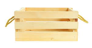Front View Wooden Crate isolou-se no fundo branco imagens de stock royalty free