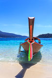 Front view of a wooden fishing boat Stock Photos