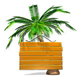 Front View Of Wooden Message Board With Palm Tree Royalty Free Stock Images