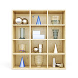 Front view of wooden shelves from standing on it primitives. 3d Stock Images