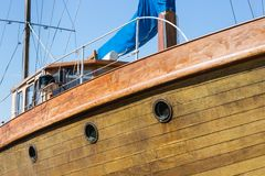 Front view of wooden yacht Royalty Free Stock Photos
