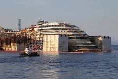 Front view of the wreck of Costa Concordia on July 19, 2014 in Giglio Island, Italy. Stock Image