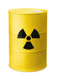 Front view of yellow barrel with radiation sign Royalty Free Stock Photography