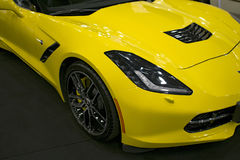 Front view of a yellow Chevrolet Corvette Z06. Car exterior details. Sankt-Petersburg, Russia, July 21, 2017: Front view of a yellow Chevrolet Corvette Z06. Car Royalty Free Stock Image