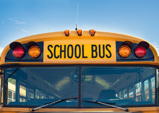 Front view of yellow school bus Royalty Free Stock Images