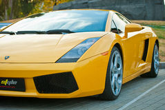 Front view of yellow sport car Royalty Free Stock Photo