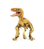 Front view yellow velociraptor toy on white background Royalty Free Stock Photos