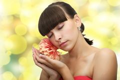 Front view of young beautiful woman's face. With healthy fresh clean skin Stock Photo