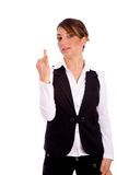 Front view of young businesswoman showing fingers Stock Photos