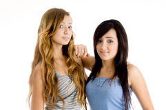 Front view of young sisters Royalty Free Stock Photos