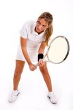Front view of young tennis player holding racket Royalty Free Stock Images
