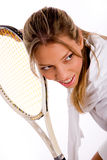 Front view of young tennis player with racket Stock Photography